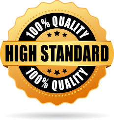 gold and black badge that states: 100% quality and high standard